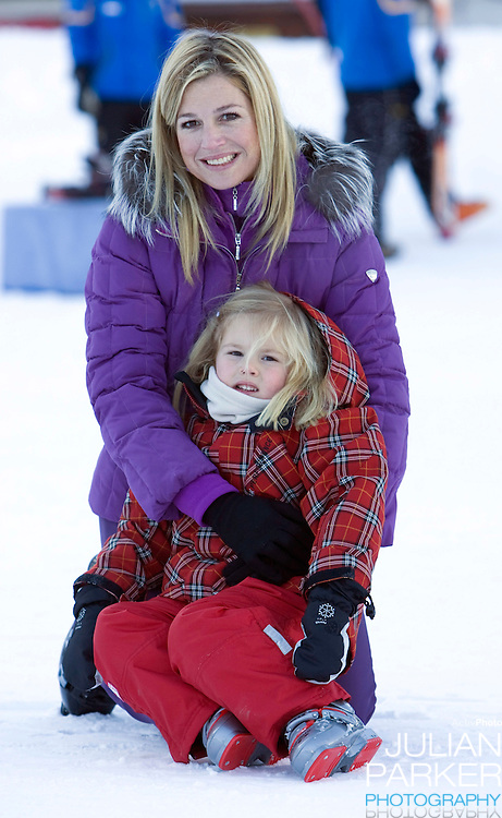 Crown Princess Maxima of Holland with Daughter Princess Catharina Amalia attend a Photocall with Members of The Dutch Royal Family during their Winter Ski Holiday in Lech Austria