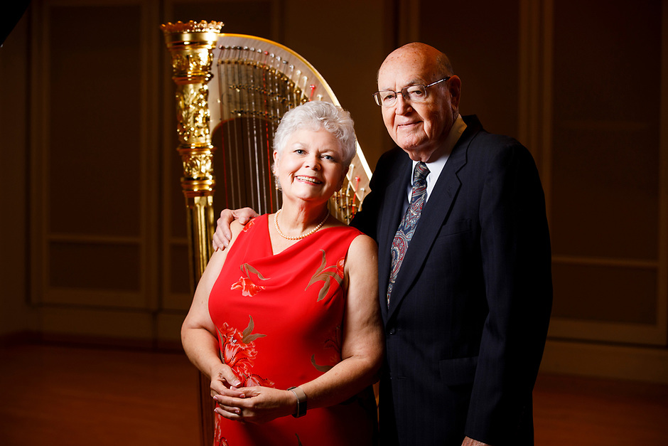 USA International Harp Competition Board of Directors members Nancy Jones Miller and Clarence D. Miller pose for a portrait during the 11th USA International Harp Competition at Indiana University in Bloomington, Indiana on Saturday, July 13, 2019. (Photo by James Brosher)