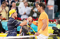 Argentine Diego Schwartzman and Spanish Rafa Nadal during Mutua Madrid Open 2018 at Caja Magica in Madrid, Spain. May 10, 2018. (ALTERPHOTOS/Borja B.Hojas) /NORTEPHOTOMEXICO