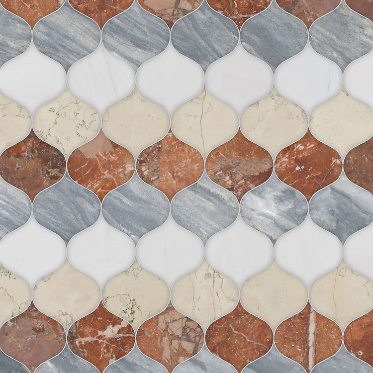 Odile, a waterjet stone mosaic,shown in honed Bianco Antico with polished Argent Blue, Dolomite, and Breccia Pernice, is part of the Semplice® collection for New Ravenna.