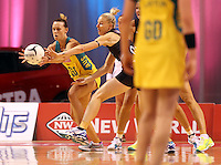 20.10.2015 Silver Ferns Katrina Grant and Australia's Natalie Medhurst in action during the Silver Ferns v Australian Diamonds netball test match played ay Horncastle Arena in Christchruch. Mandatory Photo Credit ©Michael Bradley.