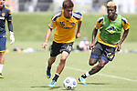 28 May 2013: Hector Jimenez (16) and Gyasi Zardes (29). The Los Angeles Galaxy held a training session on Field 3 at WakeMed Soccer Park in Cary, NC the day before playing in a 2013 Lamar Hunt U.S. Open Cup third round game.
