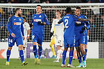 Getafe CF's players celebrate goal during UEFA Europa League match. December 12,2019. (ALTERPHOTOS/Acero)