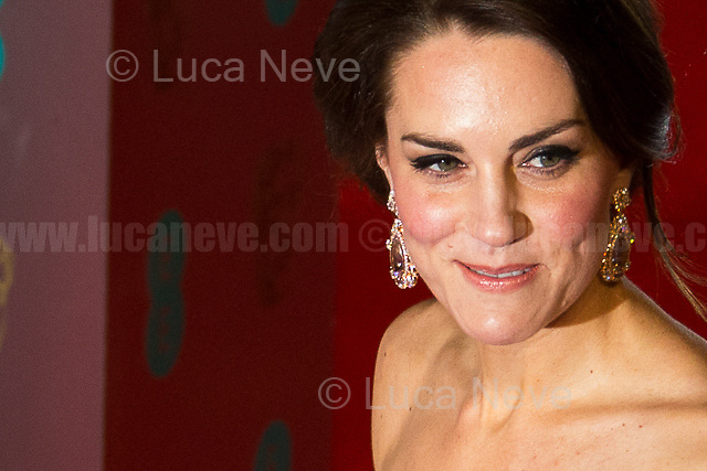 Kate Middleton (Duchess of Cambridge).<br /> <br /> London, 12/02/2017. Red Carpet of the 2017 EE BAFTA (British Academy of Film and Television Arts) Awards Ceremony, held at the Royal Albert Hall in London.<br /> <br /> For more information please click here: http://www.bafta.org/
