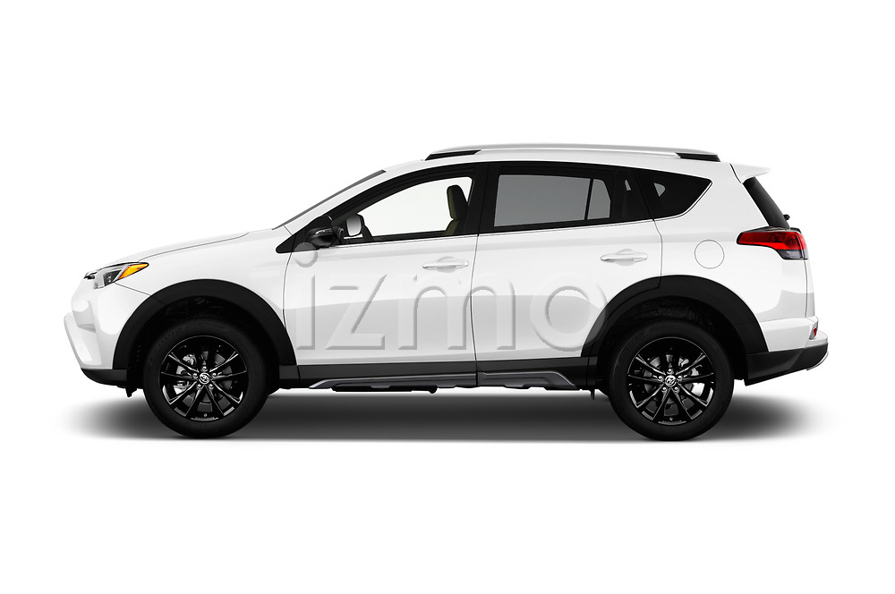 Car driver side profile view of a 2018 Toyota RAV4 Adventure 5 Door SUV