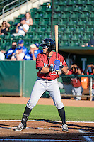 Roman Collins (25) of the Idaho Falls Chukars at bat against the Ogden Raptors in Pioneer League action at Lindquist Field on June 23, 2015 in Ogden, Utah. Idaho Falls beat the Raptors 9-6. (Stephen Smith/Four Seam Images)