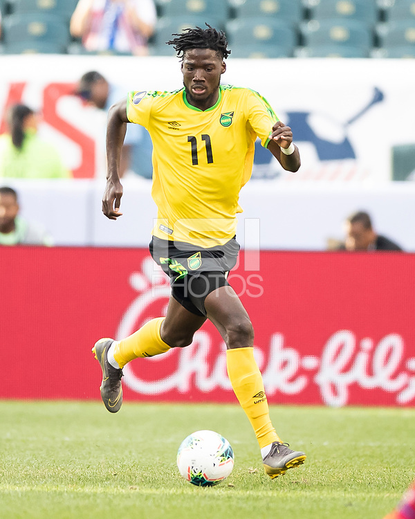 PHILADELPHIA, PA - JUNE 30: Shamar Nicholson #11 during a game between Panama and Jamaica at Lincoln Financial Field on June 30, 2019 in Philadelphia, Pennsylvania.