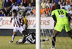05 June 2012: Carolina's Gale Agbossoumonde (17) handles the ball in the penalty area while defending Chivas USA's Juan Pablo Angel (COL) (left) leading to Angel's game-winning penalty kick against Carolina's Ray Burse (18) in stoppage time. The Carolina RailHawks (NASL) lost 1-2 to Club Deportivo Chivas USA (MLS) at WakeMed Soccer Stadium in Cary, NC in a 2012 Lamar Hunt U.S. Open Cup fourth round game.