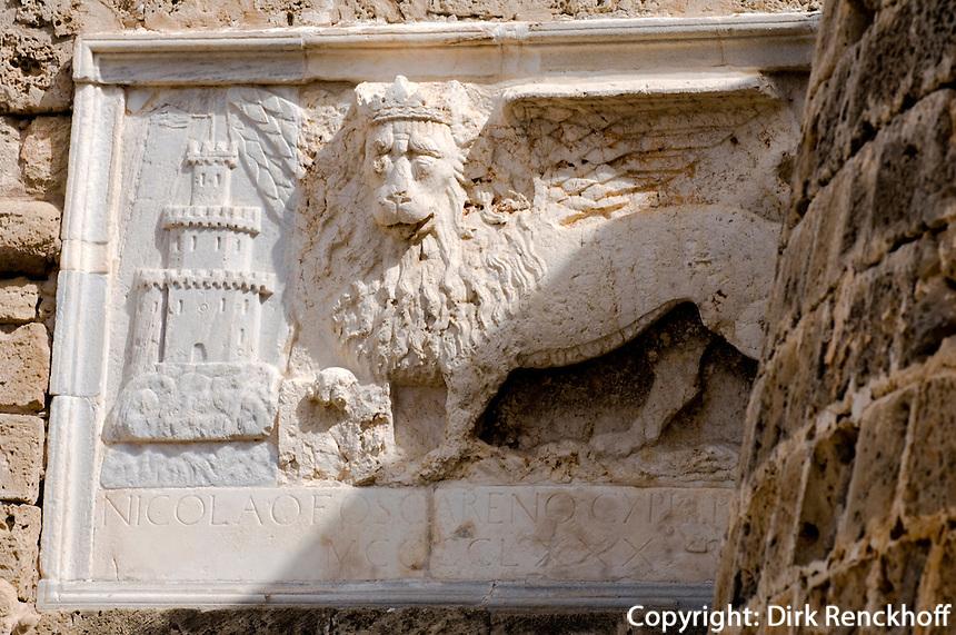 Nordzypern, Famagusta, Markus-Löwe am Othelloturm in Famagusta (Gazimagusa, Ammochostos)
