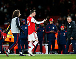 Arsenal's Mesut Ozil argues with fans during the Premier League match at the Emirates Stadium, London. Picture date: 5th December 2019. Picture credit should read: David Klein/Sportimage