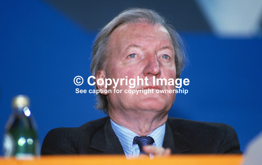 Charles Haughey, leader, Fianna Fail, Rep of Ireland, on the platform during his political party's annual conference in Dublin. 19860407CH2.<br />