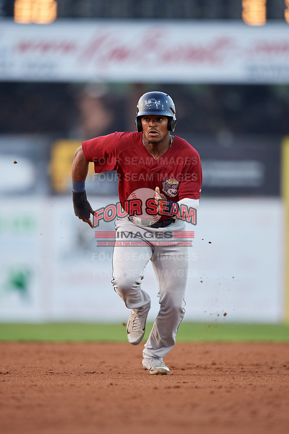 Mahoning Valley Scrappers left fielder Hosea Nelson (2) runs the bases during a game against the Batavia Muckdogs on August 30, 2017 at Dwyer Stadium in Batavia, New York.  Batavia defeated Mahoning Valley 5-1.  (Mike Janes/Four Seam Images)