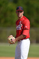 St. Louis Cardinals pitcher Bryan Dobzanski (36) during practice before a minor league spring training game against the New York Mets on April 1, 2015 at the Roger Dean Complex in Jupiter, Florida.  (Mike Janes/Four Seam Images)