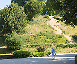 Prehistoric mound in the grounds of Marlborough College school, Marlborough, Wiltshire, England, UK