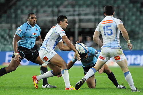 17.03.2012 Sydney, Australia. Force Tongan centre Alfie Mafi in action during the FxPro Super Rugby game between the New South Wales Waratahs  and Western Force at the Allianz Stadium,Sydney..