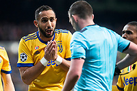 Juventus Medhi Benatia talking with the referee during Champion League match between Real Madrid and Juventus at Santiago Bernabeu Stadium in Madrid, Spain. April 11, 2018. (ALTERPHOTOS/Borja B.Hojas) /NortePhoto.com