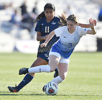 St. Louis University midfielder Anna Walsh (front) controls the ball under pressure from George Washington player Sofia Pavon. St. Louis University defeated George Washington in the championship game of the Atlantic 10 Conference Women's Soccer Tournament at Robert Hermann Stadium at St. Louis University on Sunday November 10, 2019.<br /> Photon by Tim Vizer