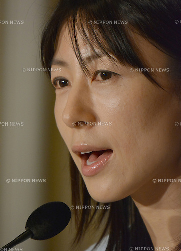 June 24, 2014, Tokyo, Japan - Ayaka Shiomura, a Tokyo metropolitan assemblywoman, answers questions from members of the foreign media during a news conference at Tokyo's Foreign Correspondents' Club of Japan on Tuesday, June 24, 2014. While asking questions about maternity support measures during the June 18 session, Shiomura was sexually taunted by a 51-year-old male assemblyman, which has instantly triggered such outrage both nationally and internationally. Akihiro Suzuki admitted that he had heckled Shiomura with sexist remarks and apologized to the 35-year-old opposition lawmaker on June 23.   (Photo by Natsuki Sakai/AFLO)