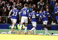 Pictured: Lacina Traore of Everton (R) celebrating his opening goal with team mates. Sunday 16 February 2014<br />