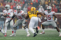 Ohio State Buckeyes offensive lineman Taylor Decker (68) and Ohio State Buckeyes running back Ezekiel Elliott (15) against Minnesota Golden Gophers at TCF Bank Stadium in Minneapolis, Minn. on November 15, 2014.  (Dispatch photo by Kyle Robertson)