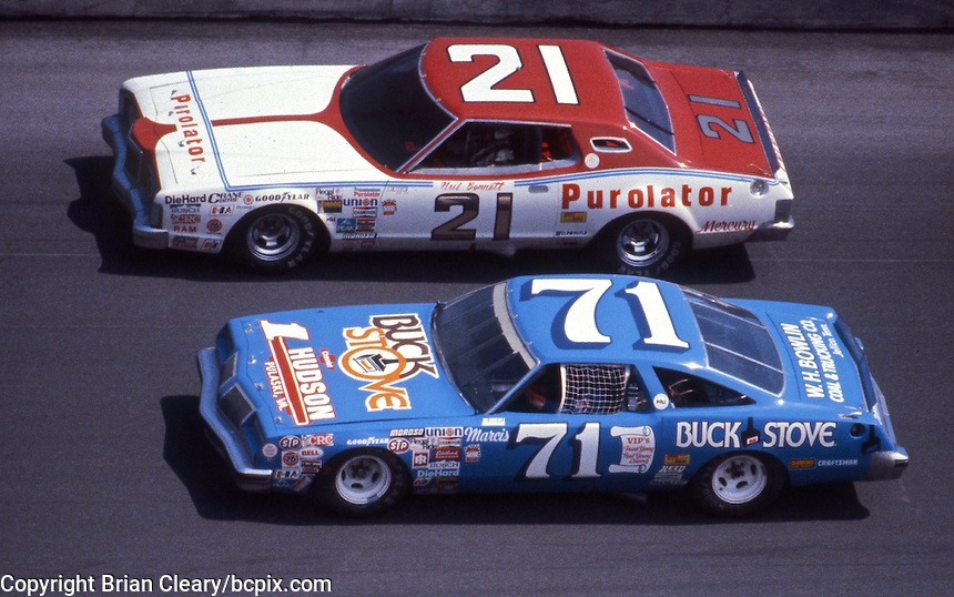 Neil Bonnett ,#21 Mercury, races beside Dave Marcis, #71 Oldsmobile, in the Daytona 500, Daytona International Speedway, Daytona Beach, FL, February 17, 1980.  (Photo by Brian Cleary/www.bcpix.com)