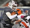 Nah'jel Sands #15 of Mepham rushes for a gain during the Nassau County Conference II varsity football semifinals against Carey at Hofstra University on Friday, Nov. 10, 2017.