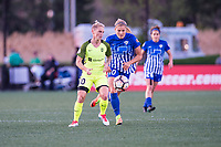 Boston, MA - Saturday April 29, 2017: Jess Fishlock and Rosie White during a regular season National Women's Soccer League (NWSL) match between the Boston Breakers and Seattle Reign FC at Jordan Field.