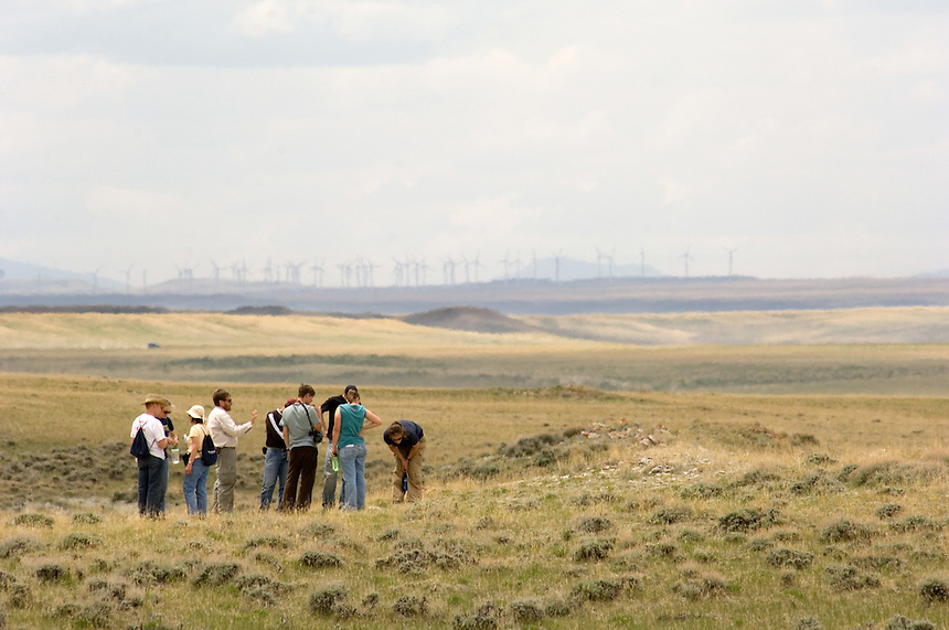 Researchers from the University of Pittsburgh and the Carnegie Museum of Natural History pour over the landscape on a part of the Allen Cook ranch recently donated to the University of Pittsburgh for research. At rear, a giant wind energy farm breaks the horizon. The ranch property features cretaceous rock formations preservibg dinosaur fossils, high-plains grassland ecology and interesting tectonic geology for study by the students and faculty of Pittsburg, the University of Wyoming and the Carnegie Museum. (photo/Kevin Moloney)