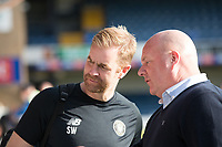 Simon Weaver, Manager, Harrogate Town,  (left) post match during Southend United vs Harrogate Town, Sky Bet EFL League 2 Football at Roots Hall on 12th September 2020