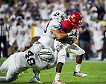 16FTB at Arizona 1040<br /> <br /> 16FTB at Arizona - Cactus Kickoff<br /> <br /> BYU Football defeated Arizona 18-16 in the Cactus Kickoff hosted at the University of Phoenix Stadium in Glendale, Arizona. It was also the first win for new Head Coach Kalani Sitake. <br /> <br /> September 3, 2016<br /> <br /> Photo by Jaren Wilkey/BYU<br /> <br /> &copy; BYU PHOTO 2016<br /> All Rights Reserved<br /> photo@byu.edu  (801)422-7322