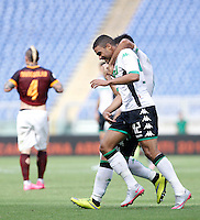 Calcio, Serie A: Roma vs Sassuolo. Roma, stadio Olimpico, 20 settembre 2015.<br /> Sassuolo&rsquo;s Gregoire Defrel celebrates after scoring during the Italian Serie A football match between Roma and Sassuolo at Rome's Olympic stadium, 20 September 2015.<br /> UPDATE IMAGES PRESS/Isabella Bonotto