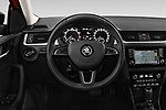 Car pictures of steering wheel view of a 2018 Skoda Rapid Spaceback Ambition 5 Door Hatchback