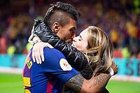 FC Barcelona Paulinho and his girlfriend Bibiana during King's Cup Finals match between Sevilla FC and FC Barcelona at Wanda Metropolitano in Madrid, Spain. April 21, 2018. (ALTERPHOTOS/Borja B.Hojas)