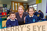 Sorcha Ní Chatháin acting principal at Scoil an Ghleanna PSN with Sonny who started in Seniors and Kacey who started 4th Class this year helping the school retain their numbers and the second teacher.