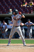 Inland Empire 66ers center fielder Orlando Martinez (13) during a California League game against the Lake Elsinore Storm on April 14, 2019 at The Diamond in Lake Elsinore, California. Lake Elsinore defeated Inland Empire 5-3. (Zachary Lucy/Four Seam Images)