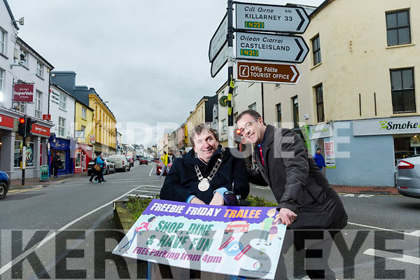 Mayor of Tralee  Cllr Terry O'Brien and John Drummey, Tralee Chamber Alliance Launch of Freebie Friday parking initiative
