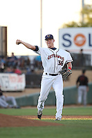 Trent Woodward (36) of the Lancaster JetHawks makes a throw during a game against the Bakersfield Blaze at The Hanger on June 18, 2016 in Lancaster, California. Bakersfield defeated Lancaster, 10-7. (Larry Goren/Four Seam Images)