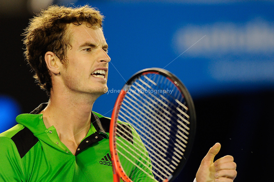MELBOURNE, 28 JANUARY - Andy Murray (GBR) in action during his semi final match against David Ferrer (ESP) on day twelve of the 2011 Australian Open at Melbourne Park, Australia. (Photo Sydney Low / syd-low.com)