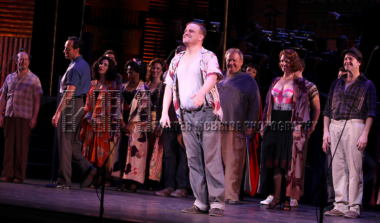 Stephen Wallerm & Company.during the New York City Center Encores! 'Pipe Dream' Opening Night Curtain Call in New York City on 3/28/2012.