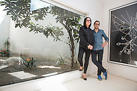Artist Pablo Garcia Lugo and gallery owner Pamela Echeverria at Labor Gallery, Mexico City