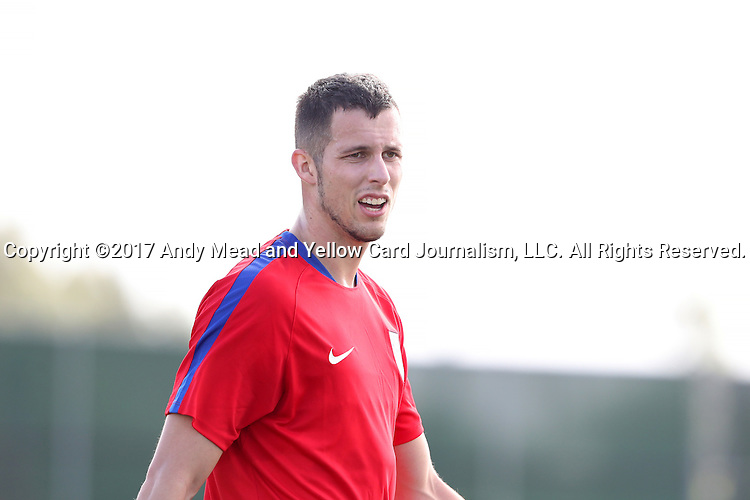 11 January 2017: Matt Hedges. The United States Men's National Team held their first training session under new head coach Bruce Arena on The Murphy Family Field at the StubHub Center in Carson, California.
