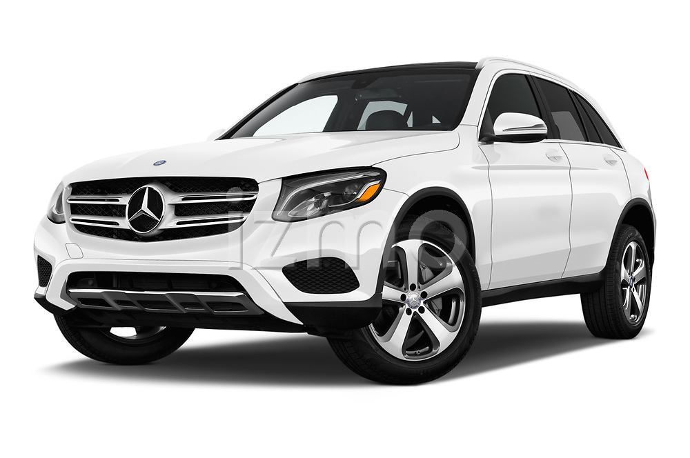 Stock pictures of low aggressive front three quarter view of a 2018 Mercedes Benz GLC-Class 300 5 Door SUV