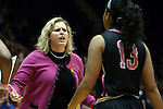 17 February 2013: Wake Forest head coach Jen Hoover (left) talks to Mykala Walker (13). The Duke University Blue Devils played the Wake Forest University Demon Deacons at Cameron Indoor Stadium in Durham, North Carolina in a 2012-2013 NCAA Division I and Atlantic Coast Conference women's college basketball game. Duke won 81-70.