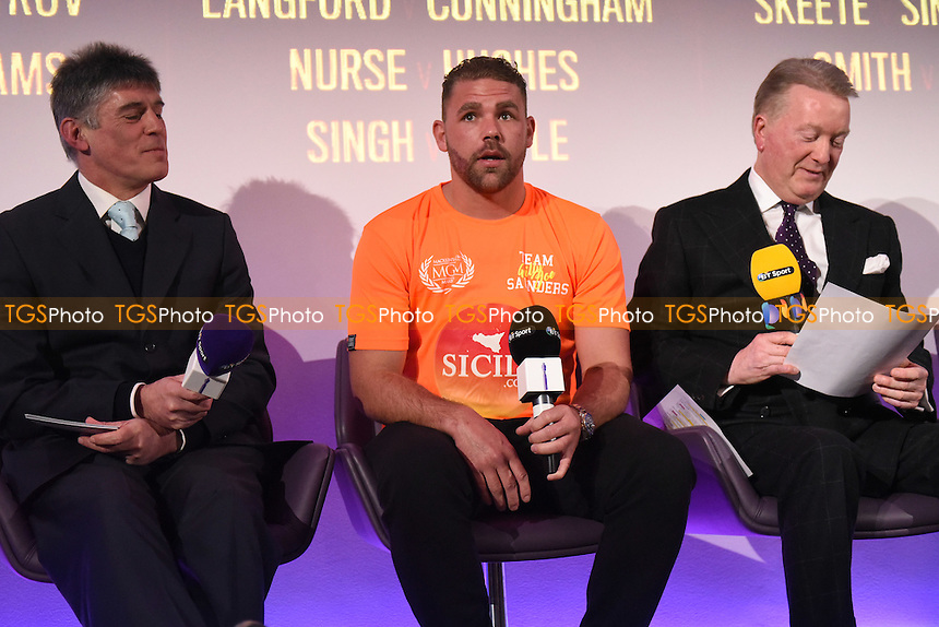 Boxer Billy Joe Saunders (C) during a Frank Warren and BT Sport Press Conference at the BT Tower on 23rd January 2017