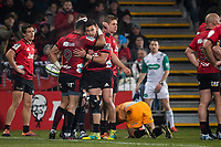The Crusaders celebrate during the 2019 Super Rugby final between the Crusaders and Jaguares at Orangetheory Stadium in Christchurch, New Zealand on Saturday, 6 July 2019. Photo: Joe Johnson / lintottphoto.co.nz