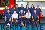 Seamus O'Connor Castleisland Fire Brigade Substation SO is honoured for his retirement on his last day at work in Castleisland Fire Station on Tuesday front row l-r: Billy O'Connor Station Officer, TJ O'Connor,  Seamus O'Connor, Mike Flynn ACFO, Tim Kelliher ACFO. Back row: Donal O'Mahony, Eamon Egan, Danny Murphy, Denis McCarthy, Daniel Egan, Tony Nolan and Denny Greaney