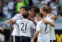 FUSSBALL   1. BUNDESLIGA   SAISON 2011/2012    2. SPIELTAG VfL Wolfsburg - FC Bayern Muenchen      13.08.2011 Schulssjubel Bayern: Mario GOMEZ, Phlipp LAHM, Luiz GUSTAVO, Franck RIBERY und Holger BADSTUBER (v.l., alle Bayern)