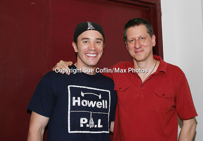 Guiding Light's Tom Pelphrey poses with Joseph Gallo (playwright of this play) performs a one-man play - My Italy Story on June 26, 2009 at the Mile Square Theatre, Monroe Theatrespace, Hoboken, New Jersey (Photo by Sue Coflin/Max Photos)