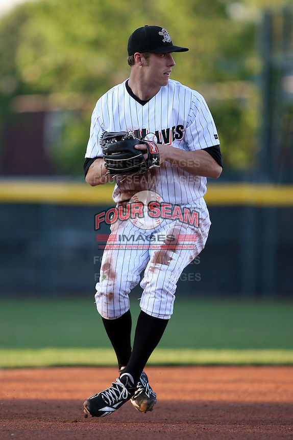 June 10th 2008:  Kody Kirkland (8) of the Erie Seawolves, Class-AA affiliate of the Detroit Tigers, throws to first during a game at Jerry Uht Park in Erie, PA.  Photo by:  Mike Janes/Four Seam Images