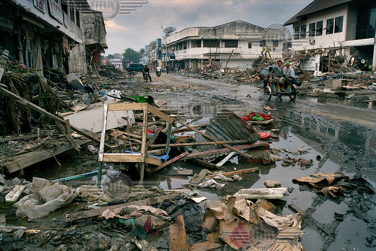 A scene of devastation in the central business district of Banda Aceh following the tsunami which struck South Asia on 26/12/2004..An underwater earthquake measuring 9 on the Richter scale triggered a series of tidal waves which caused devastation when they struck dry land. 12 countries were affected by the tsunami, with a combined death toll of over 280,000. Aceh, the closest landfall to the epicentre of the quake, suffered the greatest loss of life.